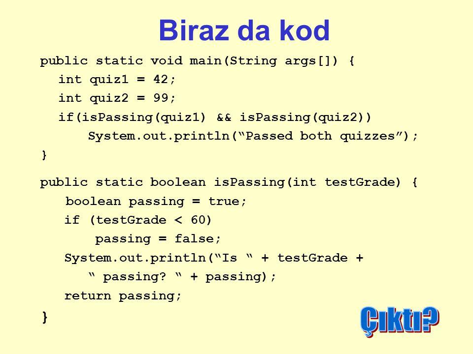 Biraz da kod Çıktı public static void main(String args[]) {